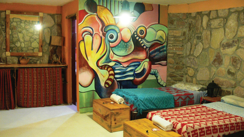 Wall Painting on the Hostel Room of the Hotel Antigua Tilcara, in Jujuy, Argentina