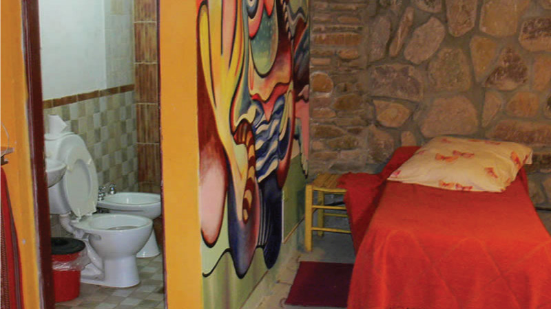 Shared Bathroom of the Hostel - Hotel Antigua Tilcara, in Jujuy, Argentina