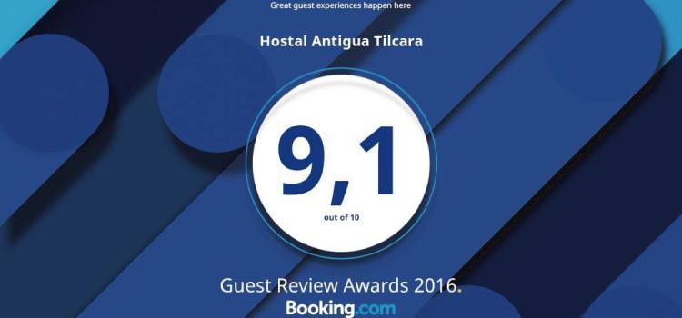 Premio de Booking.com al Hotel Antigua Tilcara en 2016