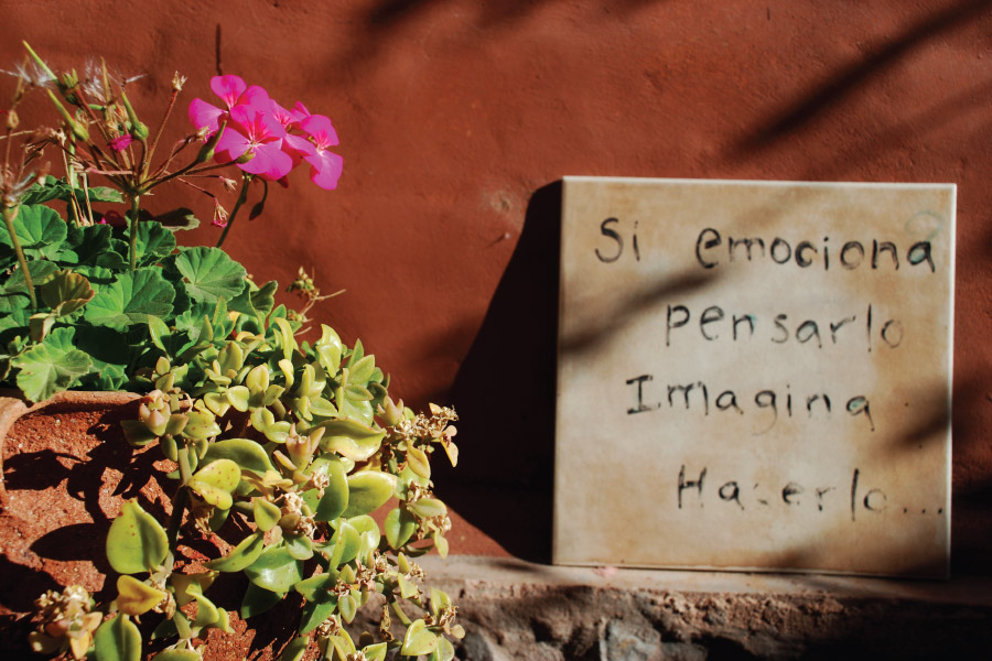 Phrases in the inner courtyards of the  Hotel Antigua Tilcara