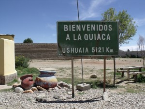 Cartel La Quiaca-Ushuaia en La Quiaca, Jujuy, Argentina